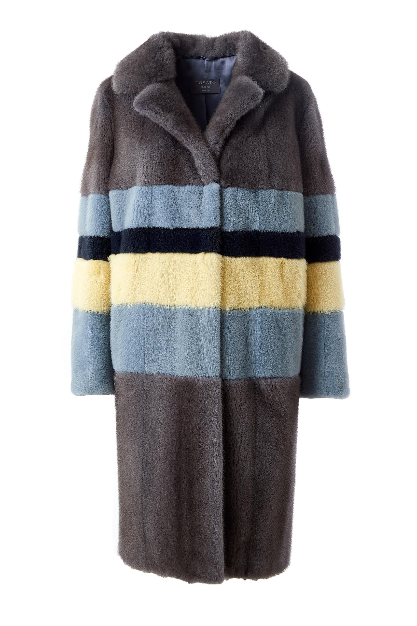Mink coat with colorful stripes