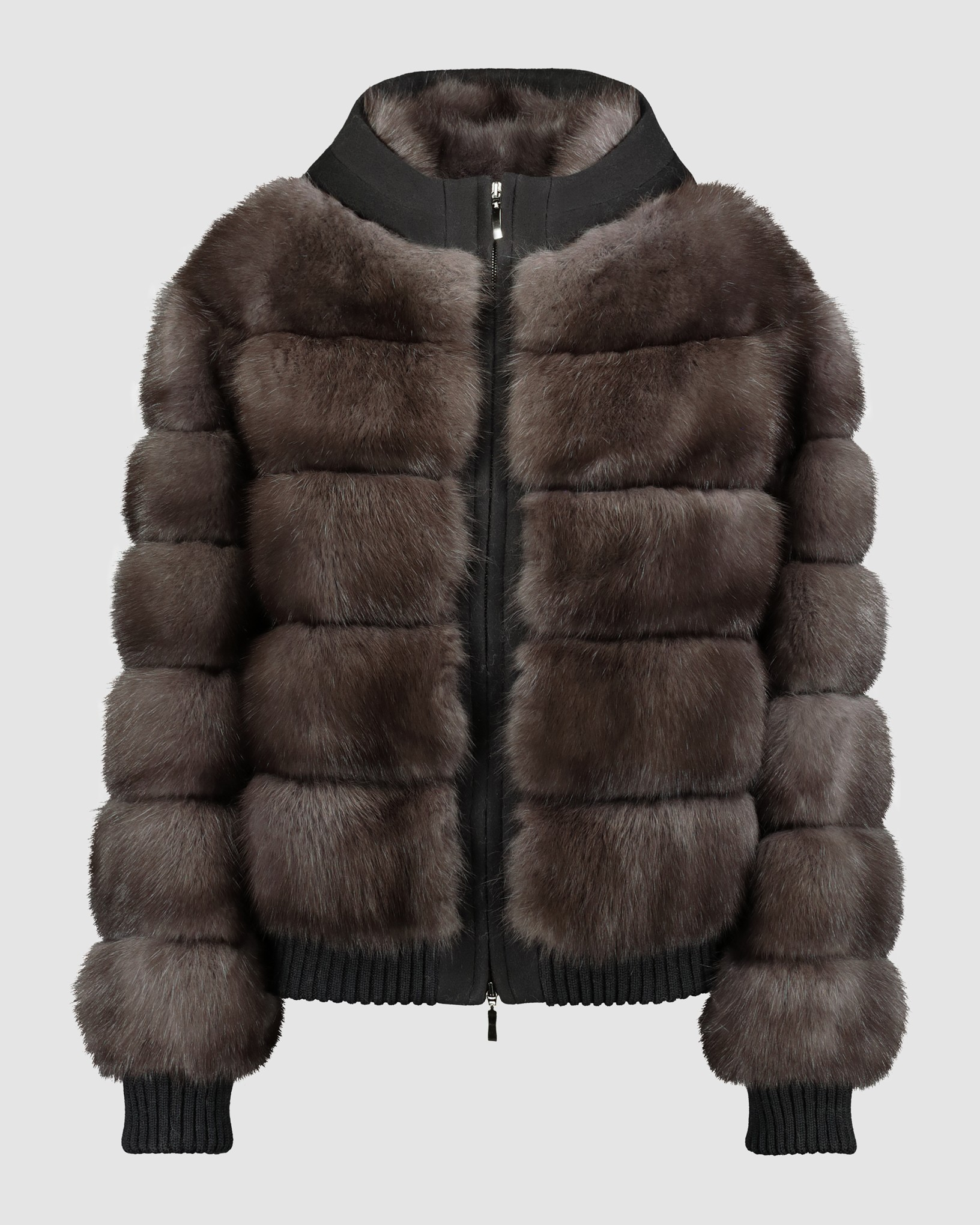 RUSSIAN SABLE BOMBER JACKET WITH CASHMERE BLEND